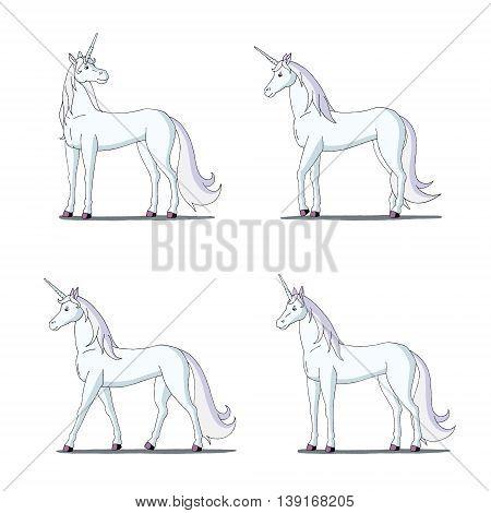 Set of White Unicorn images. Digital painting full color cartoon style illustration isolated on white background.