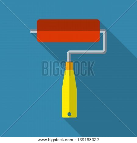 Paint roller flat icon with long shadow. vector illustration in flat design