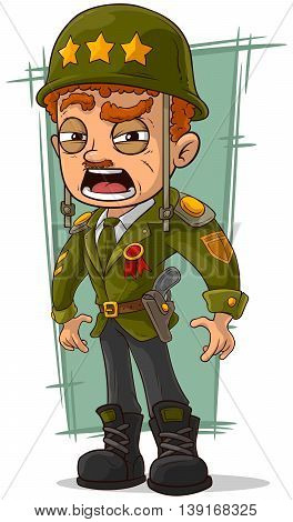 A vector illustration of cartoon army general in green helmet