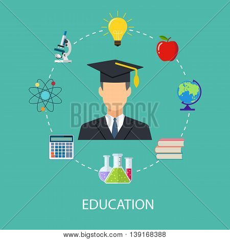 concept of school, education, study, training. vector illustration in flat design