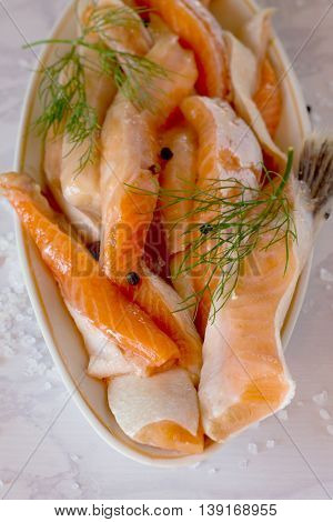 Delicious Portion Of Fresh Salmon Fillet With Aromatic Herbs And Spices, Selective Focus.