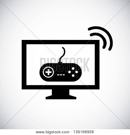 Video game concept represented by game control and television icon. Isolated and flat illustration.