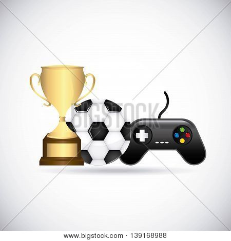 Video game concept represented by control ball and trophy icon. Colorfull and flat illustration.