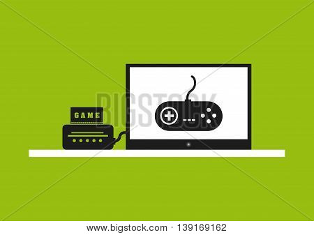 Video game concept represented by control and tv icon. Colorfull and flat illustration.