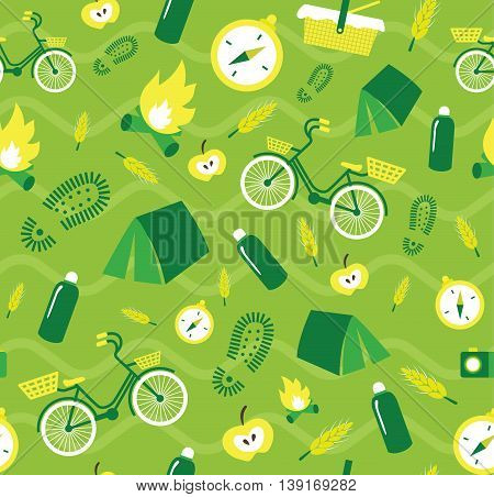 Vector creative seamless pattern with hiking elements