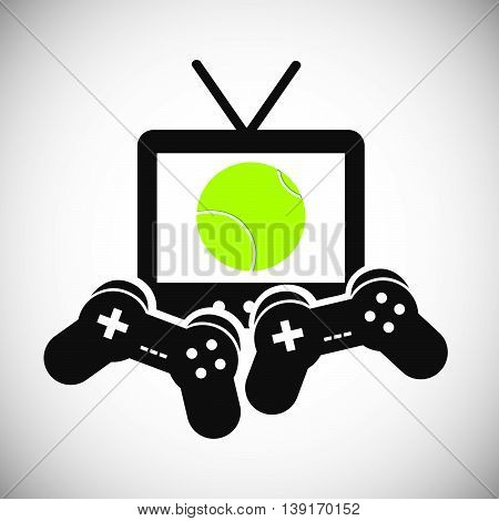 Tennis concept represented by tv game control ball and racket icon. Colorfull and flat illustration.