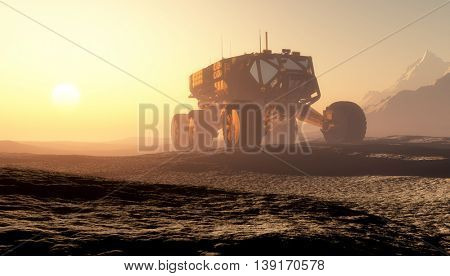 Space transport moves along the mountain lanshafty.,3d render
