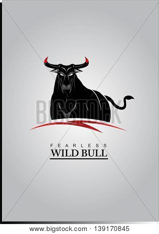 Bull. Elegant Black Bull with the Bloody Horns. Half body of the wild bull.