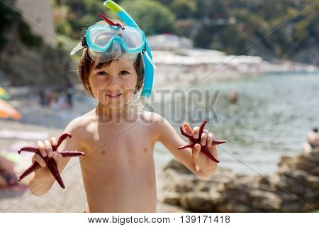 Little Boy Holding Red Five Point Starfishes In His Hands On The Beach