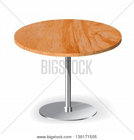Wooden realistic table isolated illustration on white background
