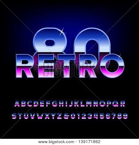 80's retro alphabet font. Metallic effect shiny letters and numbers. Light glare sparkle. Vector typeface.