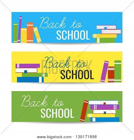 Modern colorful horizontal banners template with stack of books and Back To School text. Library reading education concept. Vector illustration for web design.
