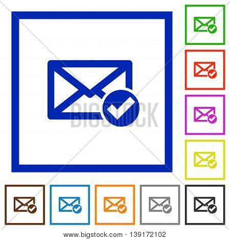 Set of color square framed Read mail flat icons