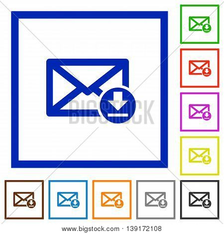 Set of color square framed Receive message flat icons