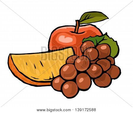 Apple bunch of grapes with leaf and orange. Vector vintage color flat illustration.