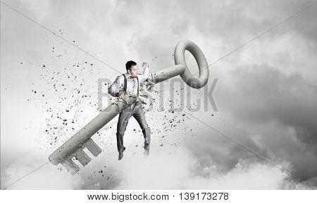 Man break key . Mixed media