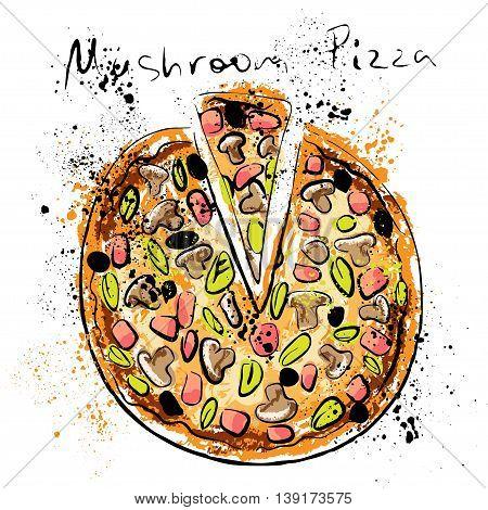 Mushroom pizza, drawn in chalk on a blackboard, vector illustration