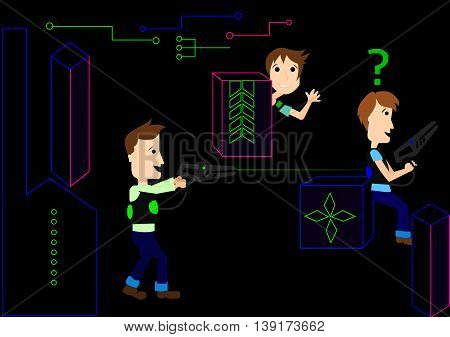 laser game illustrated laser tag fun vector
