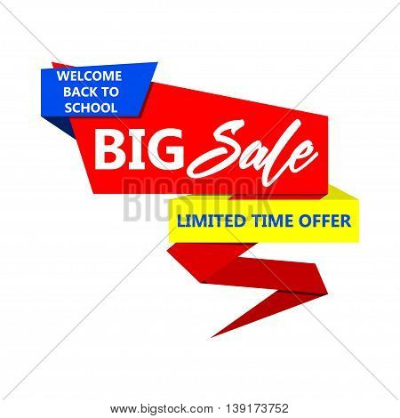 Vector back to school big sale paper banner template. Isolated on white.