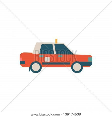 Chinese Police Car Flat Bright Color Primitive Drawn Vector Icon Isolated On White Background