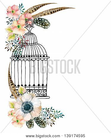 Watercolor card with bird cage and flowers.. Hand painted illustration with Anemones herbs feathers and bird cage