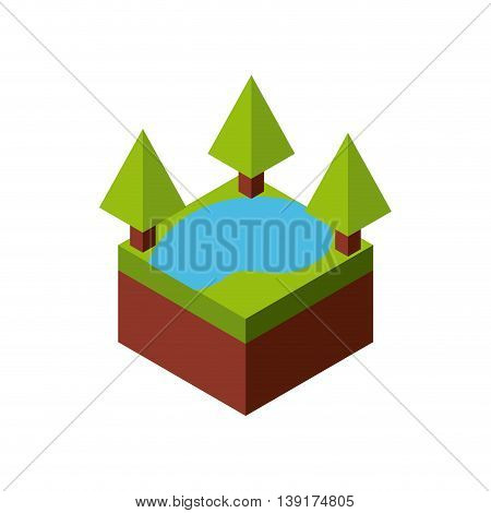 Isometric concept represented by green tree and lake  icon. Colorfull and geometric illustration.
