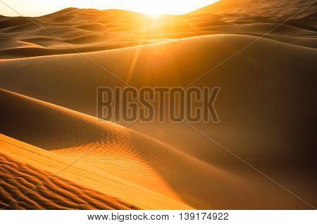 Huge Sand Dune at Sunset in the Sahara Desert