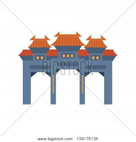 Blue Archway In Classic Chinese Style Flat Bright Color Primitive Drawn Vector Icon Isolated On White Background