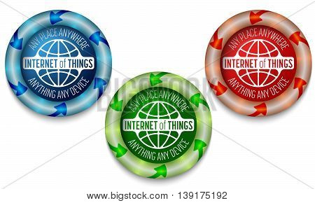 Three icons with color back light and the words internet of things