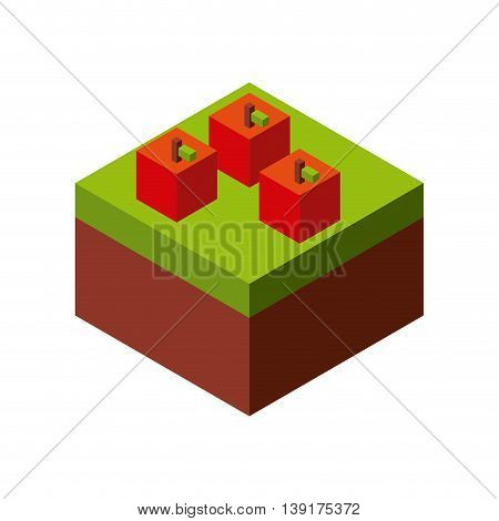 Isometric concept represented by apple icon. Colorfull and geometric illustration.