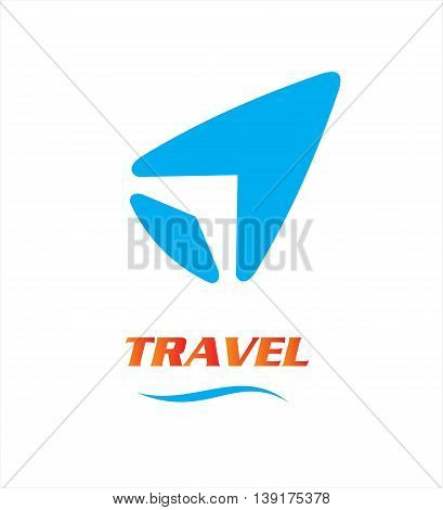 travel logo. Vector template negative space style. unique design of wing icon made by negative space of the blue arrow head or way point