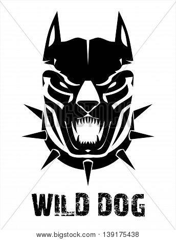 Pitbull. Doberman. Boxer. Wild dog. Black wild dog. Stylized Black Canine in black & white.