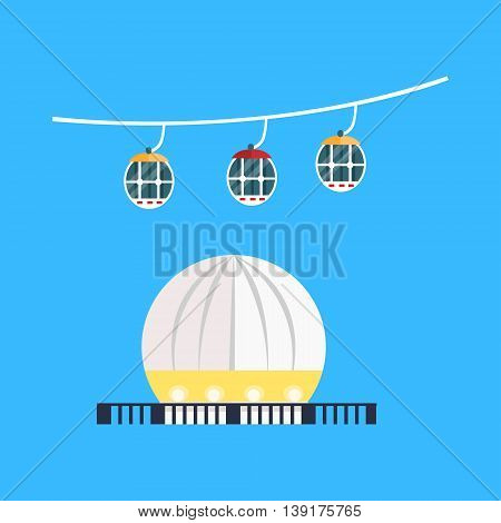 Spheric Monument And Funicular In Hong Kong Flat Bright Color Primitive Drawn Vector Icon Isolated On White Background