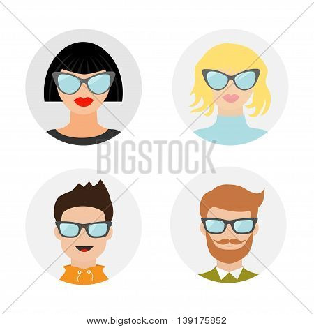 Avatar people icon set. Cute cartoon character. Diverse face collection. Men women wearing eyeglasses.. Male female head with sunglasses. Round shape Flat White background Isolated Vector illustration
