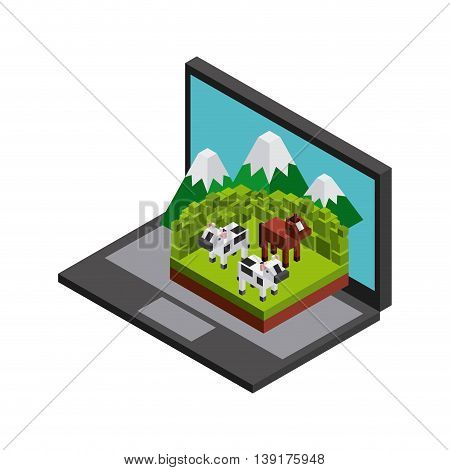 Isometric concept represented by laptop cow horse mountain icon. Colorfull and geometric illustration.