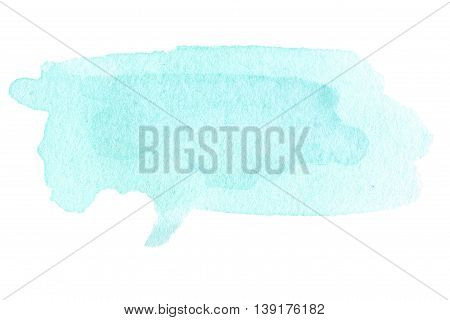 Blue ink spots watercolor tag stain with watercolour paint stroke. Abstract watercolour hand paint texture isolated on white background