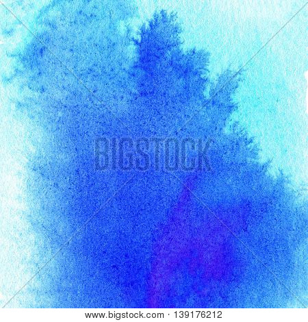 Colorful blue watercolor splash background. Abstract ink spot textured backdrop. High resolution