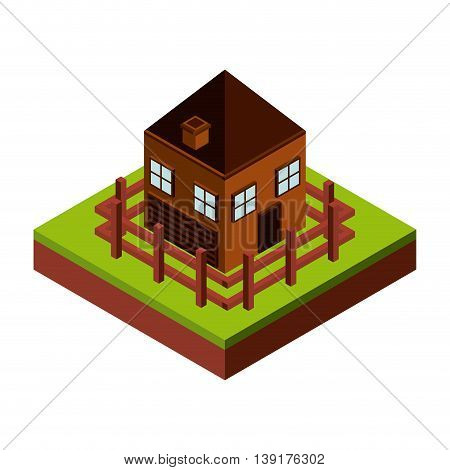 Isometric concept represented by house with fence icon. Colorfull and geometric illustration.