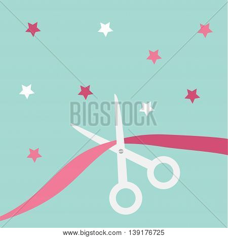 Scissors cut the ribbon. Grand opening celebration. Business beginnings event. Launch startup concept. Blue background with stars. Flat material design style. Vector illustration.