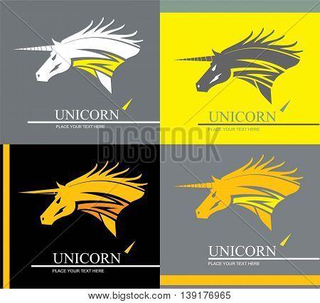 unicorn. unicorn head mascot. unicorn in various background.