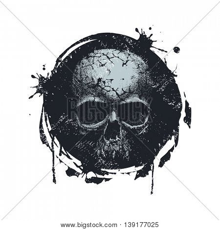 Grunge Distress Texture . Scratch Texture . Dirty Texture . Wall Background with skull. Hand drawn. Jpeg version.