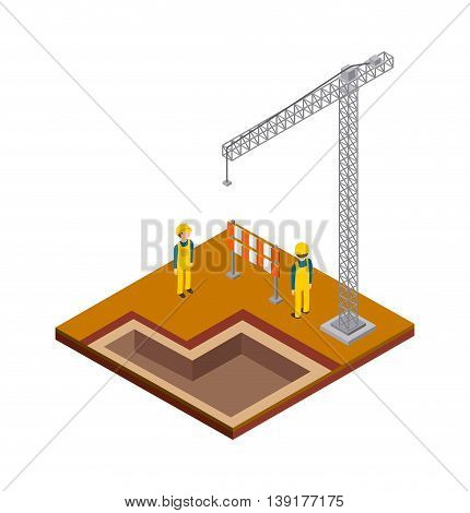 Isometric concept represented by crane constructer barrier icon. Colorfull and geometric illustration.