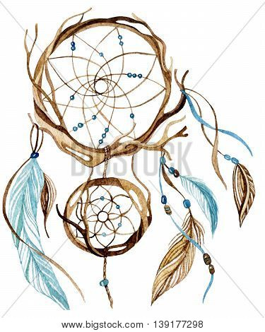 Watercolor ethnic dreamcatcher isolated on white background. Hand painted illustration for your design