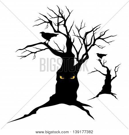 black raven sitting on creepy halloween tree with evil eyes - monster vector silhouettes
