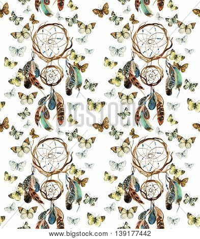 Dreamcatcher with feathers. Watercolor ethnic dreamcatcher and butterflies seamless pattern. Hand painted illustration for your design