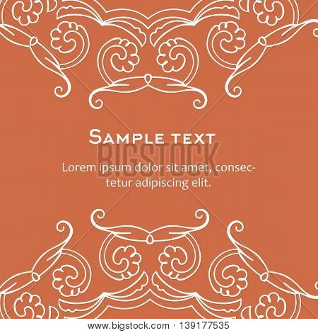 Vector background with celtic ornament. Template for menu, gift card or packing. Orange color