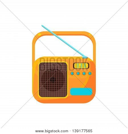 Small Yellow Radio With Antenna Flat Bright Color Primitive Drawn Vector Icon Isolated On White Background