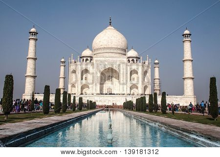 The white marble of Taj Mahal, Agra, India