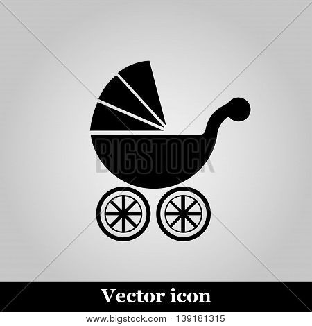Isolated black baby carriage silhouette on grey background