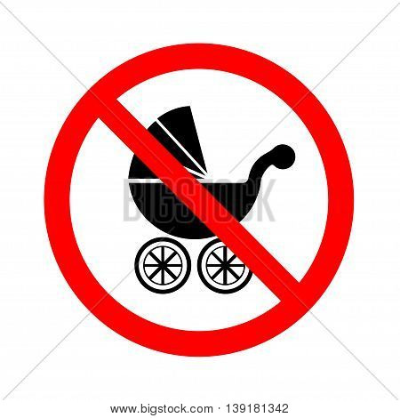 No Baby Carriage Sign on white background